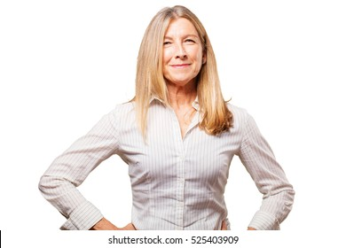 senior beautiful woman facing to a challenge