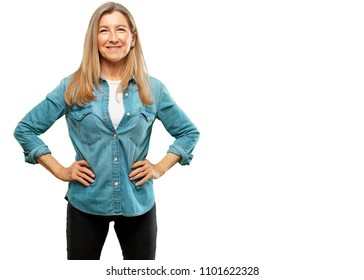 "senior beautiful woman smiling proudly and confidently with arms hands on hips in akimbo pose, happy and sure of success, giving an ""achiever"" look."