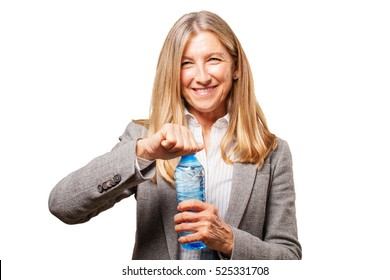 senior beautiful woman with water bottle