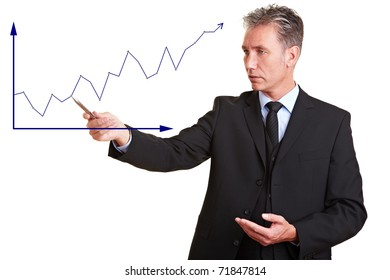 Senior business man explaining financial trend with a chart