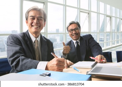 senior business man happiness in office life