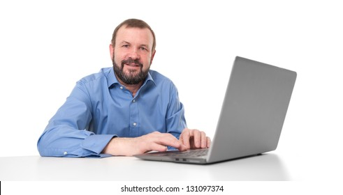 senior business man with his laptop