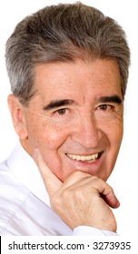 senior business man portrait - smiling isolated over a white background