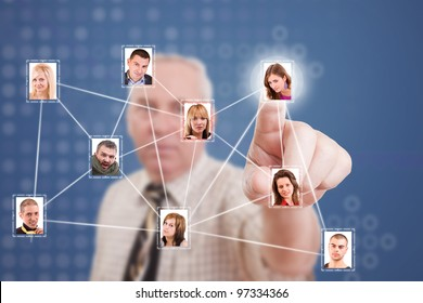 Senior business man pressing Social network pictures