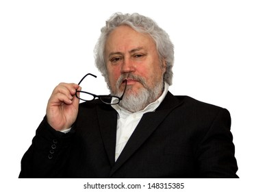 Senior business man with reading glasses