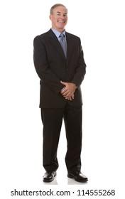 senior business man wearing suit on white background