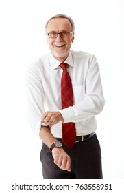 Senior business roll up his sleeves on white background
