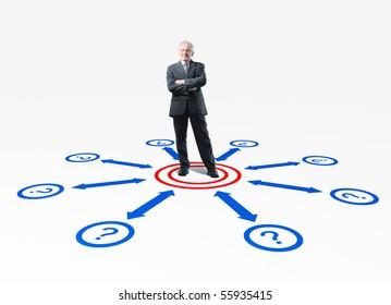senior businessman and connection 3d scheme