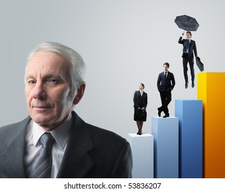 senior businessman and his team on 3d stat background