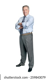 Senior businessman posing isolated in white