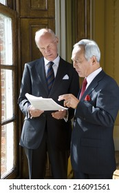 Senior businessman showing paperwork to colleague, by window