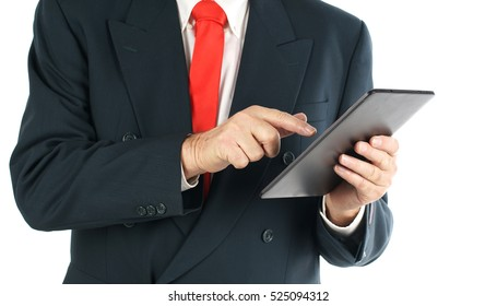 Senior businessman standing and holding a digital tablet in his Hand, isolated on white