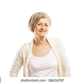 Senior casual woman style portrait, studio shot, isolated on white background