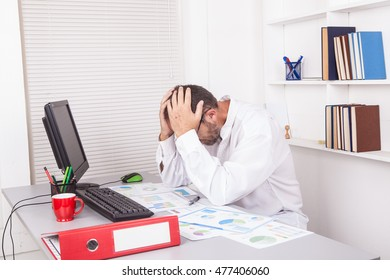 Senior caucasian businessman in office working