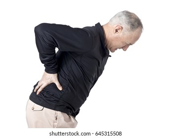 Senior caucasian man with back ache; isolated on white background
