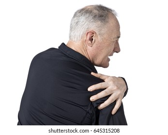 Senior caucasian man with neck and shoulder pain; isolated on white background