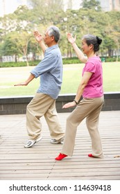 Senior Chinese Couple Doing Tai Chi In Park
