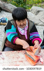 Senior Chukchi woman cuts  just catched sallmon on the sea shore and prepared it for drying