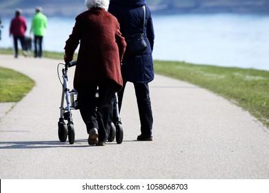 Senior citizen talking a walk