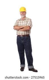 Senior construction worker standing full height isolated on white