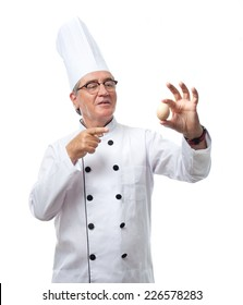 senior cool man with an egg