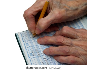 Senior is counting her expenses in the checkbook