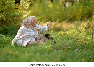 senior couple in autumnal park