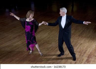 Senior couple ballroom dancing