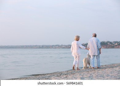 Senior couple and big dog on riverside