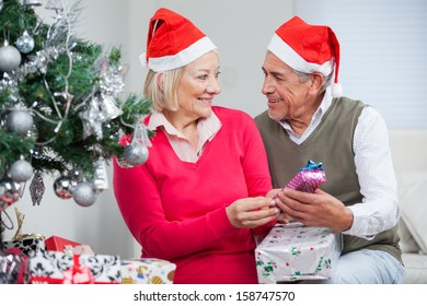 Senior couple with Christmas gifts looking at each other in house