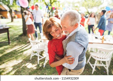 A senior couple dancing on a garden party outside in the backyard.