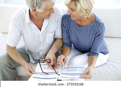 Senior couple doing home finances