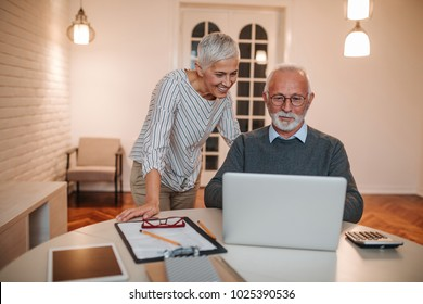 Senior couple doing some online shopping