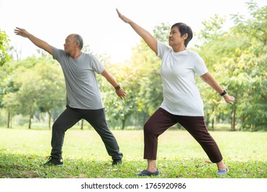 Senior couple doing stretching exercise at park. Old man and woman workout at nature outdoor. Fitness and Wellness, healthy lifestyle.