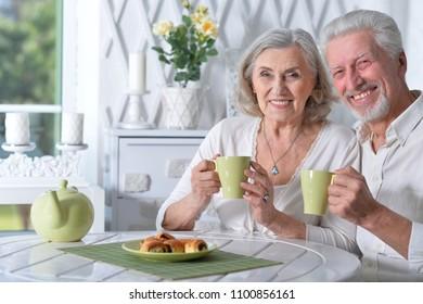 Senior couple drinking tea