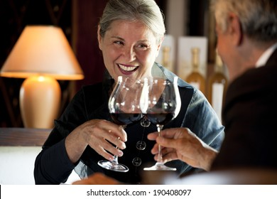 Senior couple drinking wine at the restaurant