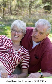 Senior couple during a picnic in the field enjoying each others company
