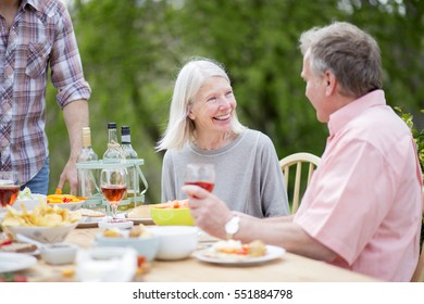 Senior couple enjoying a conversation together at a garden party. They are drinking wine and eating barbecue food.