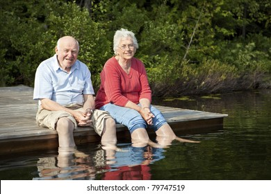 Senior couple enjoying a day at the lake