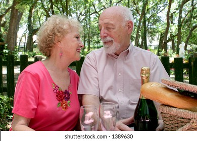 A senior couple enjoying a romantic picnic for two.