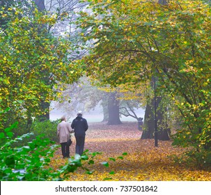 Senior couple enjoying walking in autumn Park