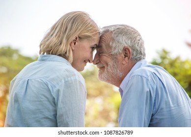 Senior couple  happy smiling couple hugging outdoors in a park on a sunny day,  senior relax in the forest spring summer time. Healthcare lifestyle retirement together .