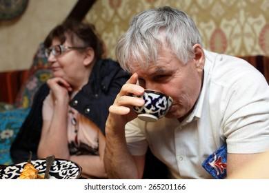 Senior couple has dinner in the asian restaurant