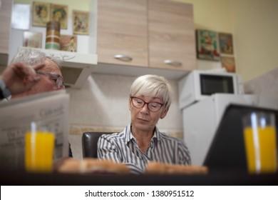 Senior couple having fight, discuss.