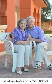 Senior couple having fun at the resort during vacation