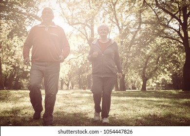 Senior couple having recreation together in nature.