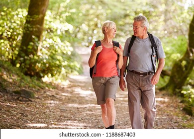Senior Couple Hiking Along Woodland Path In Lake District UK Together