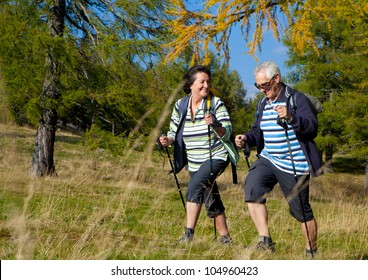 senior couple hiking in the nature