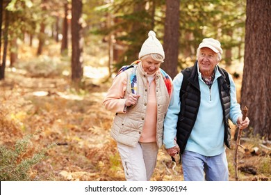 Senior couple hold hands hiking in a forest, California, USA