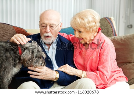 Senior couple at home with their adorable scruffy little dog.